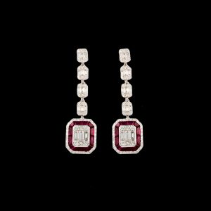 18K WHITE GOLD WITH RUBY & DIAMOND EARRING