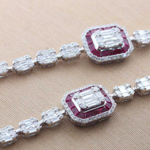 18K WHITE GOLD WITH RUBY & DIAMOND NECKLACE