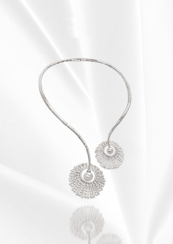 18K WHITE GOLD WITH DIAMOND & PEARL NECKLACE