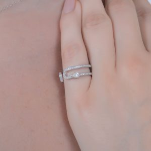 H JEWELS CAMBRE 2 RING, WHITE GOLD WITH PAVE DIAMONDS