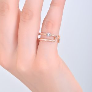 H JEWELS CAMBRE 2 RING, ROSE GOLD WITH PAVE DIAMONDS