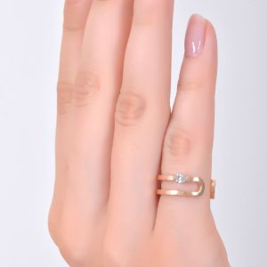 H JEWELS CAMBRE RING, ROSE GOLD WITH DIAMOND