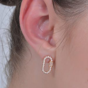 18K ROSE GOLD WITH DIAMOND EARRING