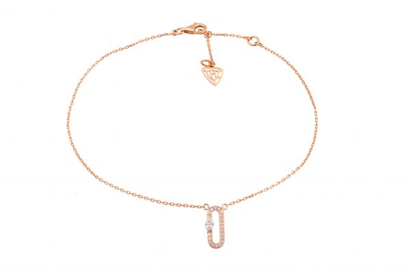 H JEWELS CAMBRE ANKLET, ROSE GOLD WITH PAVE DIAMONDS