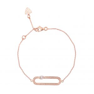 H JEWELS CAMBRE BRACELET, ROSE GOLD WITH PAVE DIAMOND