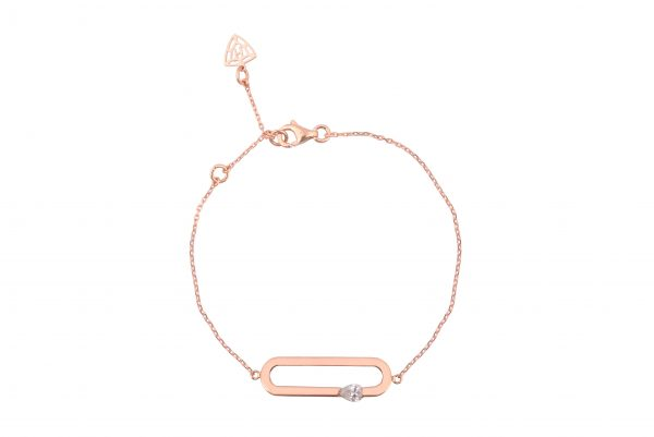 H JEWELS CAMBRE BRACELET, ROSE GOLD WITH DIAMOND