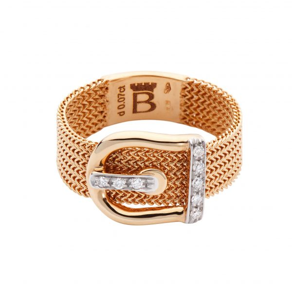 18k ROSE GOLD RING WITH - ENCRUSTED BUCKLE