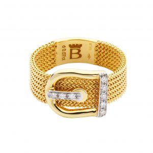 18KT YELLOW GOLD RING WITH - ENCRUSTED BUCKLE