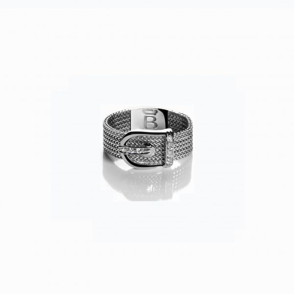 18K WHITE GOLD RING WITH - ENCRUSTED BUCKLE