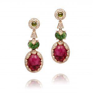 18K ROSE GOLD WITH DIAMOND & GEMSTONE EARRING