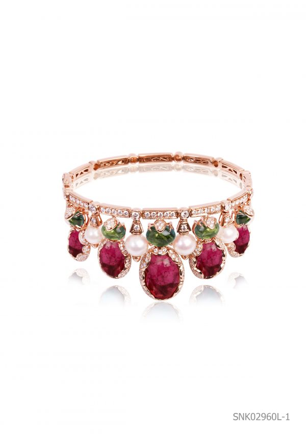18K ROSE GOLD WITH DIAMOND & GEMSTONE BANGLE