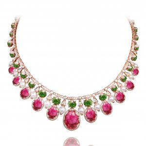 18K ROSE GOLD WITH DIAMOND & GEMSTONE NECKLACE