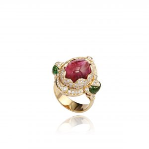 18K ROSE GOLD WITH DIAMOND & GEMSTONE RING